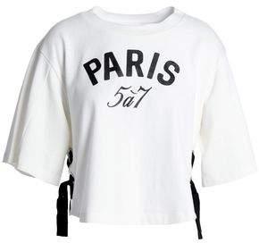 Cinq à Sept Lace-Up Printed Cotton-Jersey T-Shirt