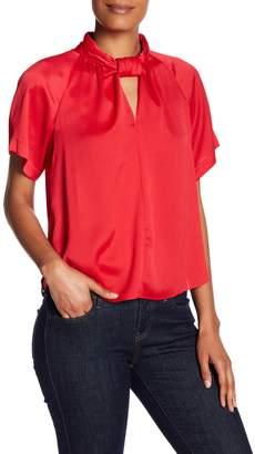 Rachel Roy Mock Neck Short Sleeve Blouse