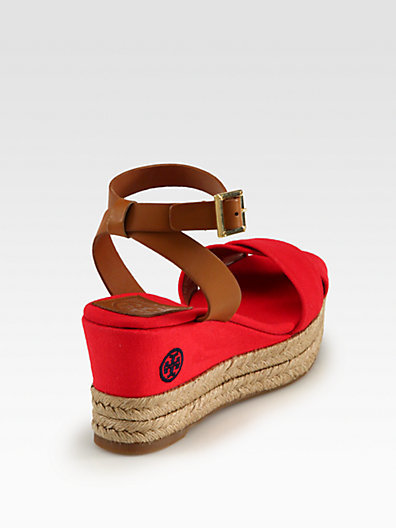 Tory Burch Karissa Canvas & Leather Espadrille Wedges