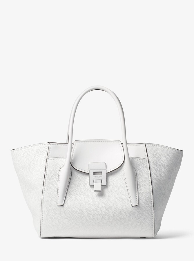0c6b2552cb5f Michael Kors Bancroft Medium Pebbled Calf Leather Satchel - OPTIC WHITE -  STYLE
