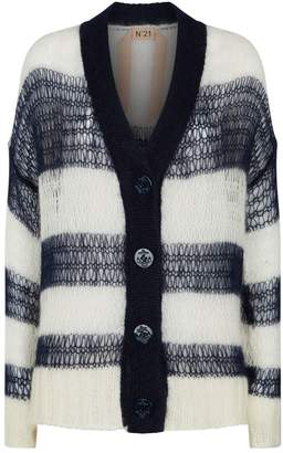 N°21 Open-Weave Stripe Cardigan