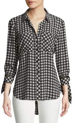 IMNYC Isaac Mizrahi Gingham Button-Up Tunic