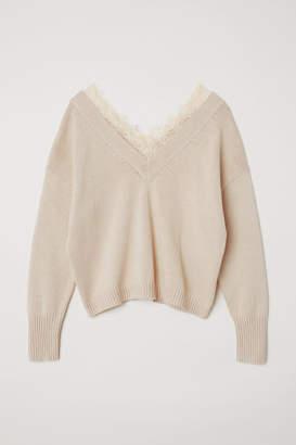 H&M Lace-trimmed Sweater - Beige