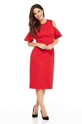 London Times Women's Cold Shoulder Round Neck Midi Scuba Crepe Sheath Dress