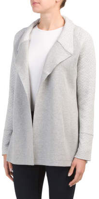 Shawl Collar Patterned Sleeve Cardigan