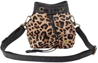 MAHI Leather - Mini Bucket Drawstring Bag In Leopard Print Pony Hair & Black Leather