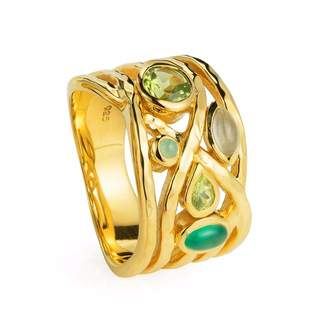 Neola - Liana Gold Ring Peridot Green Onyx and Peridot