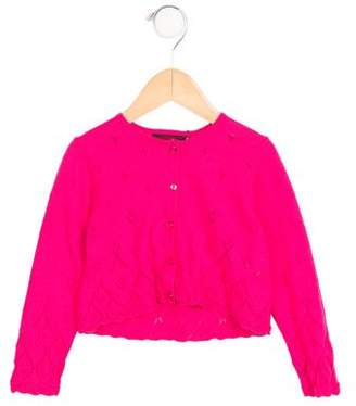 Catimini Girls' Open Knit-Accented Button-Up Cardigan w/ Tags