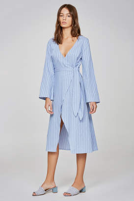 THE FIFTH BARBADOS STRIPE LONG SLEEVE WRAP DRESS blue w white