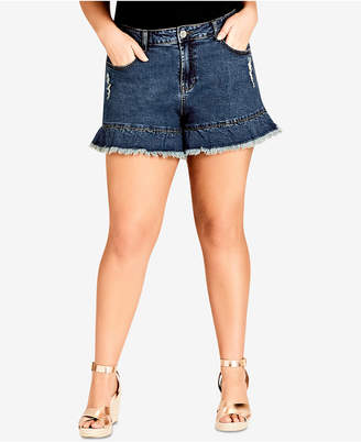 City Chic Trendy Plus Size Ruffled Denim Shorts