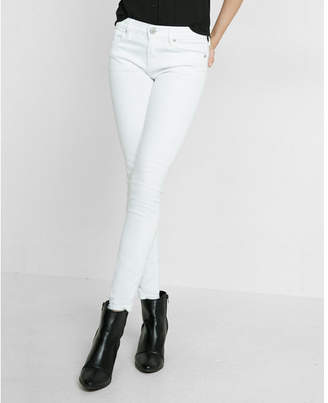 Express petite white mid rise stretch jean leggings