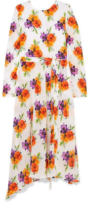 MSGM Asymmetric Floral-print Silk-chiffon Midi Dress - Yellow