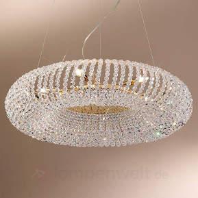 Gold-Hängeleuchte CARLA mit Kristallbehang