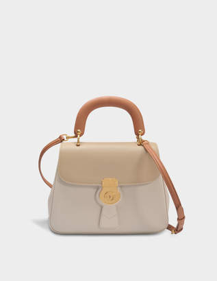 Burberry Medium DK88 Top Handle Bag in Limestone and Honey Embossed Calfskin
