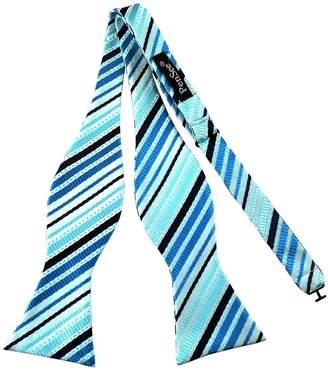 Pense'e Pensee Mens Self Bow Tie Sky Blue and Black Stripe Jacquard Woven Silk Bow Ties