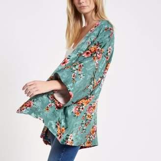 River Island Womens Turquoise floral print cropped kimono