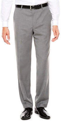 Jf J.Ferrar JF Men's Stretch Medium Gray Tic Flat-Front Straight-Leg Slim Fit Pants