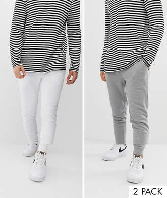 Design DESIGN skinny joggers 2 pack white / grey marl