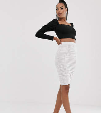 Flounce London ruched tube skirt in white
