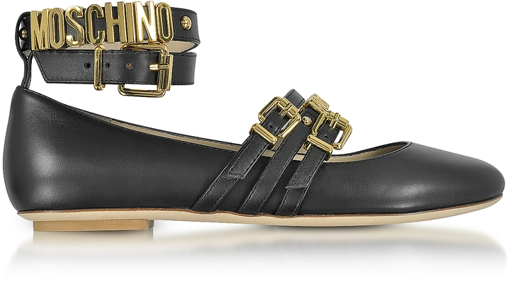 Moschino Moschino Black Leather Flat Ballerinas w/Golden Buckles & Signature Logo