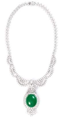 LC Collection Jade Diamond jade 18k white gold pendant necklace