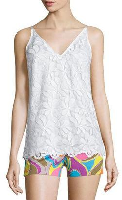 Trina Turk Sleeveless V-Neck Lace Scalloped Top $188 thestylecure.com