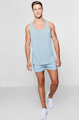 boohoo Jersey Runner Shorts And Basic Vest Set