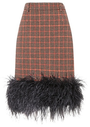 Feather-trimmed tweed skirt