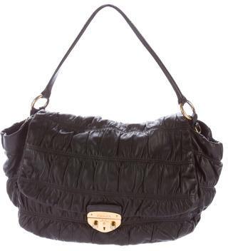 pradaPrada Ruched Leather Satcheltonal