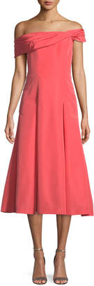 Carolina Herrera Off-the-Shoulder Sleeveless Fit-and-Flare Mid-Calf Cocktail Dress