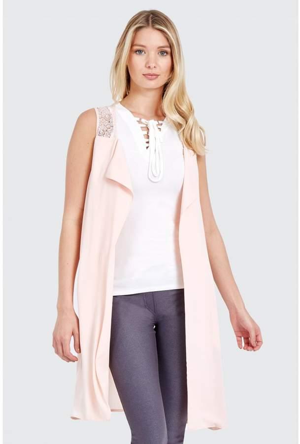 Lace Yoke Soft Sleeveless Jacket Soft Jackets