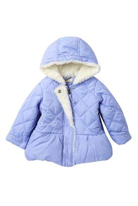 Jessica Simpson Satin Quilted Faux Fur Trimmed Peplum Puffer Jacket (Baby Girls)