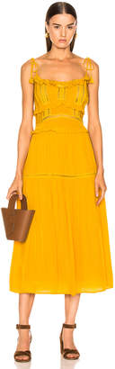 Sea Poppy Pintuck Sleeveless Dress in Mustard | FWRD