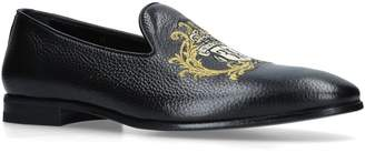 Billionaire Leather Baroque Crest Loafers