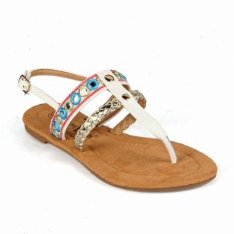 Nature Breeze Tribal Women's T-strap Flat Sandals in White