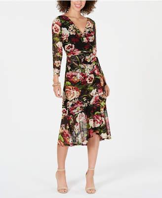 Connected Petite Floral-Print Wrap Midi Dress
