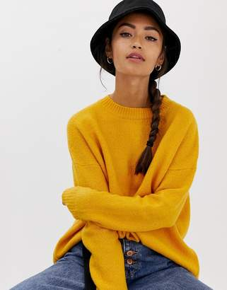 Bershka oversized crew neck jumper in yellow
