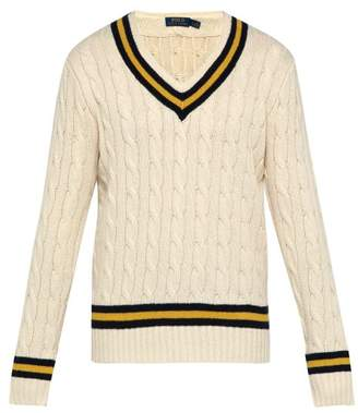 Polo Ralph Lauren V Neck Cotton And Cashmere Blend Cricket Sweater - Mens - White