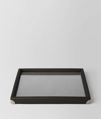 Bottega Veneta ESPRESSO INTRECCIATO NAPPA LEATHER SQUARE TRAY