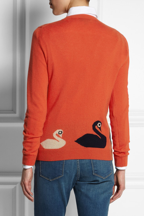 Mulberry Mini Swan intarsia cashmere-blend sweater