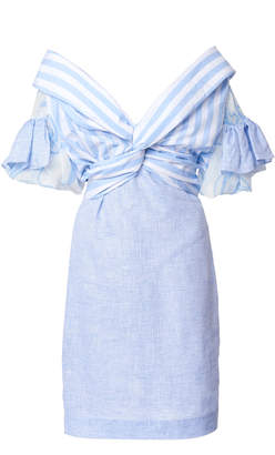 Leal Daccarett Cielo Lindo Striped Linen-Blend Dress