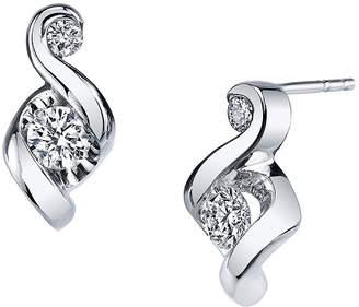 Sirena Juno Lucina 3/8 CT. T.W. Diamond 14K White Gold Swirl Stud Earrings