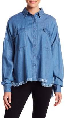 KENDALL + KYLIE Kendall & Kylie Chambray Frayed Trim Blouse
