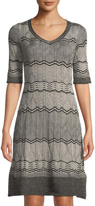 M Missoni 1/2-Sleeve Shimmer Chevron V-Neck Dress