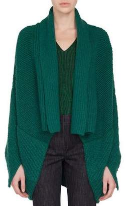 Akris Open-Front Asymmetric-Cut Boucle Cashmere-Wool Cardigan