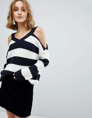 Vero Moda Cold Shoulder Striped Sweater