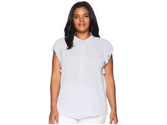 Vince Camuto Specialty Size Plus Size Drawstring Armhole Button Down Blouse Women's Blouse