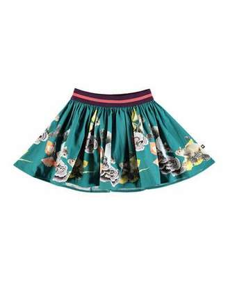 Molo Brenda Woven Squirrel-Print Skirt, Size 2T-12