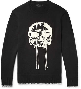 Alexander McQueen Slim-Fit Skull-Intarsia Wool Sweater - Black