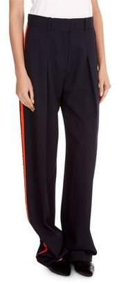 Victoria Beckham Victoria Flat-Front Wide-Leg Wool Pants with Tux Stripe